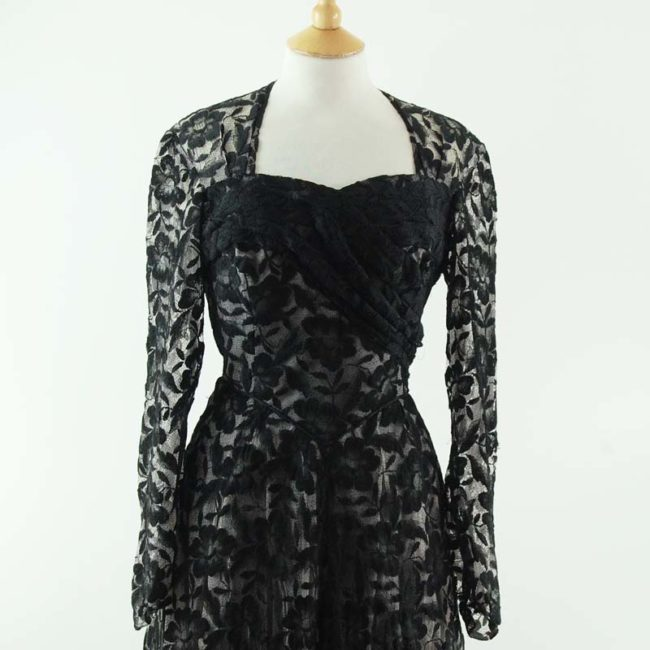 close up of 50s Black Lack Evening Dress