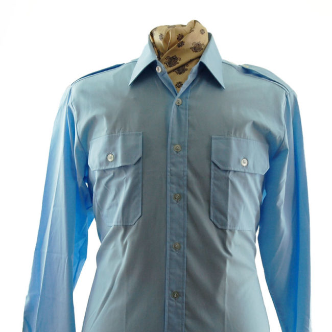close up of 70s Baby Blue Work Shirt