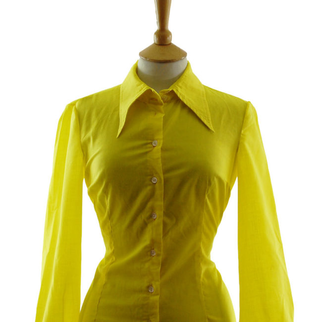 close up of 70s Louis London Vibrant Yellow Blouse
