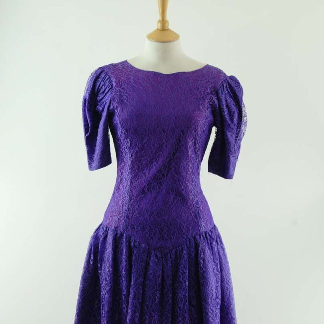 close up of 80s Purple Evening Dress