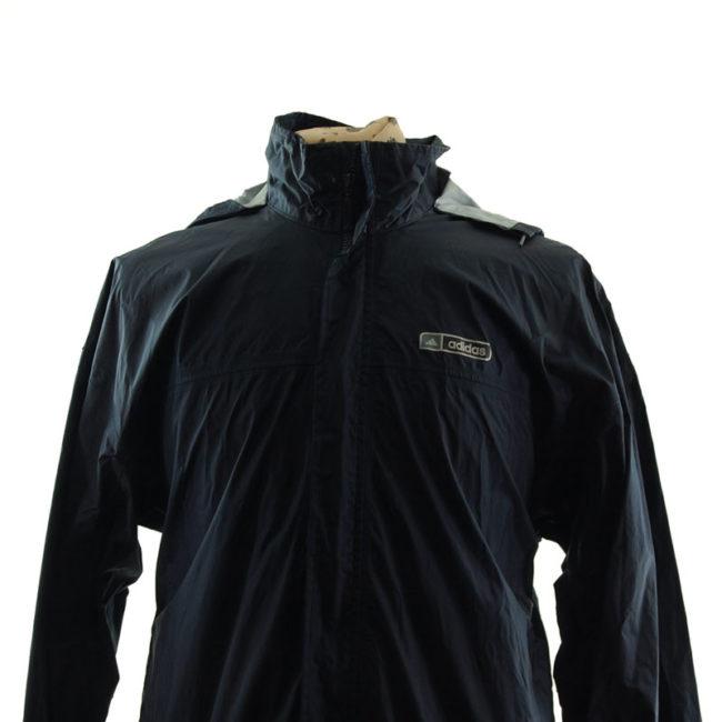 close up of Adidas Black Windbreaker Jacket