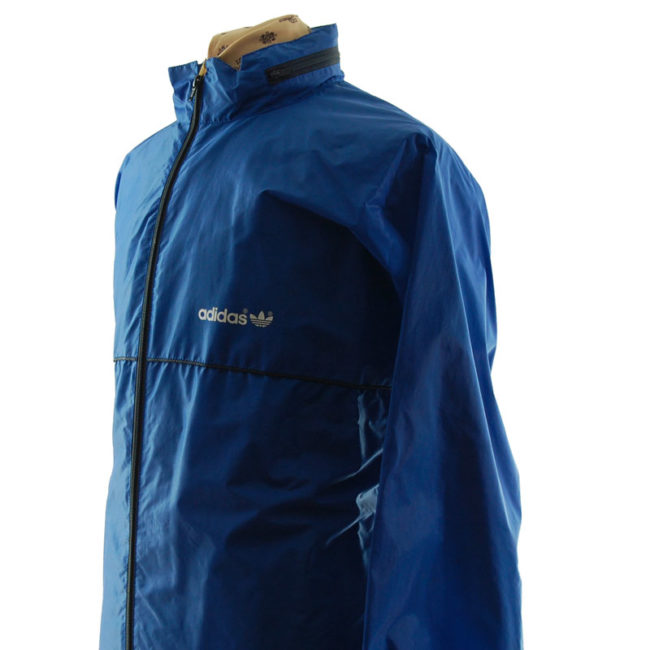 close up of Adidas Blue Windbreaker Jacket