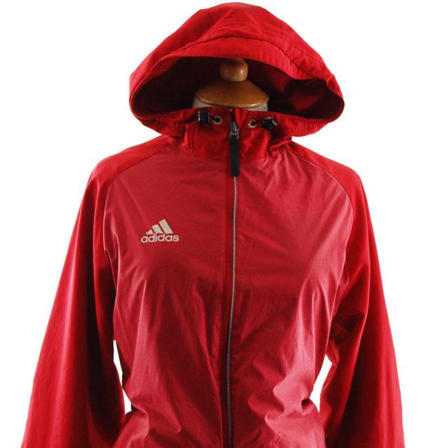 close up of Adidas Red Windbreaker Jacket