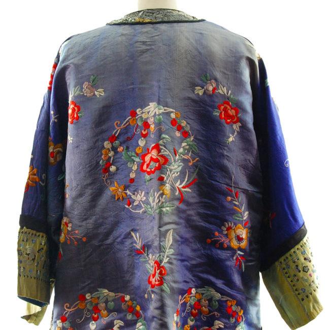 close up of Blue Silk Mandarin Robe