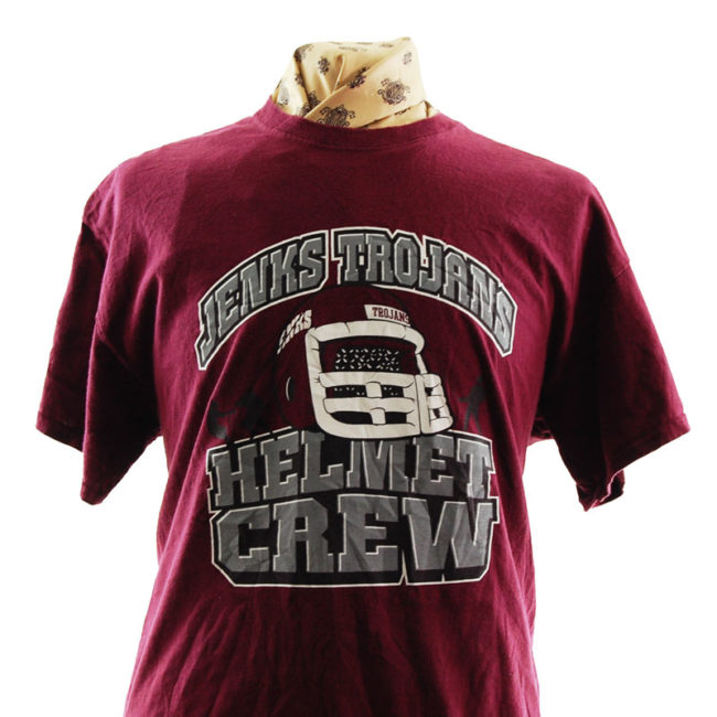 close up of Burgundy Jenks Trojans T Shirt