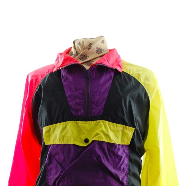 close up of Colorful Rave Windbreaker Jacket
