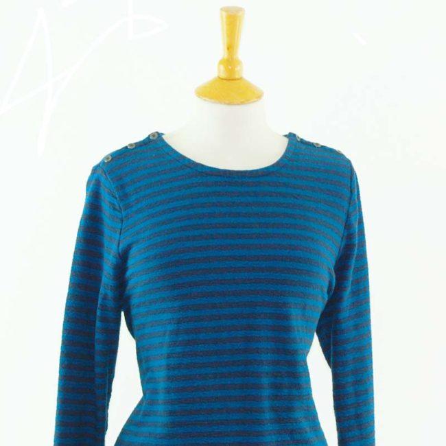 close up of Cotton Blue Long Sleeve Tee Shirt