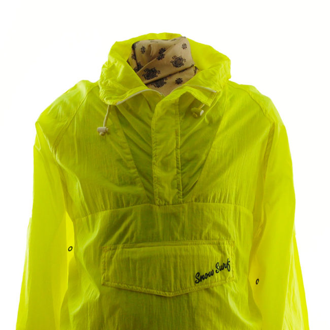 close up of Florescent Yellow Windbreaker Jacket