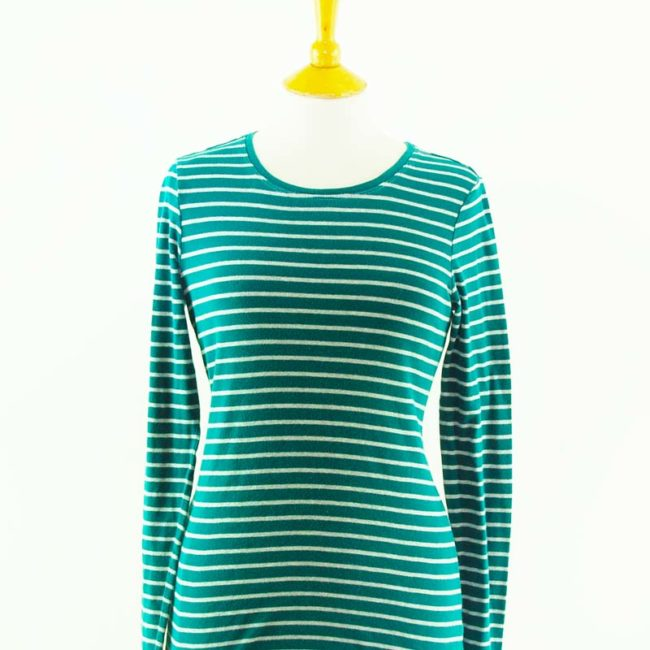 close up of Green Long Sleeve Sailor Tee Shirt