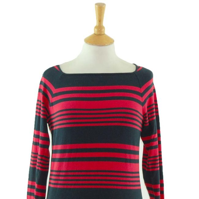 close up of Irregular Striped Long Sleeve Tee Shirt