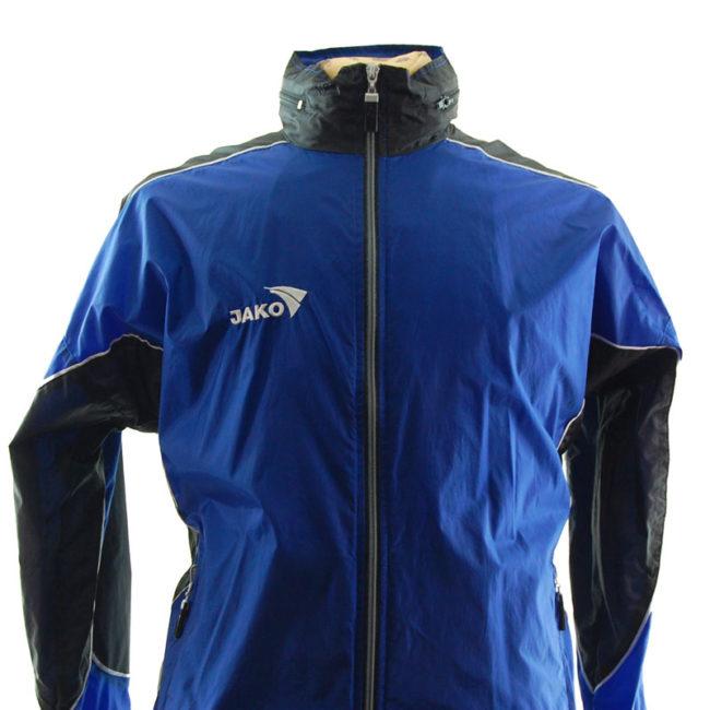 close up of Jako Blue Windbreaker Jacket