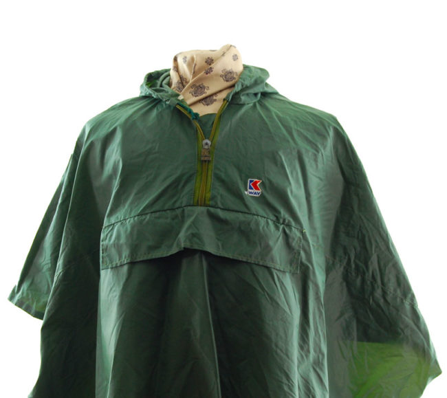 close up of K-Way Army Green Poncho Windbreaker