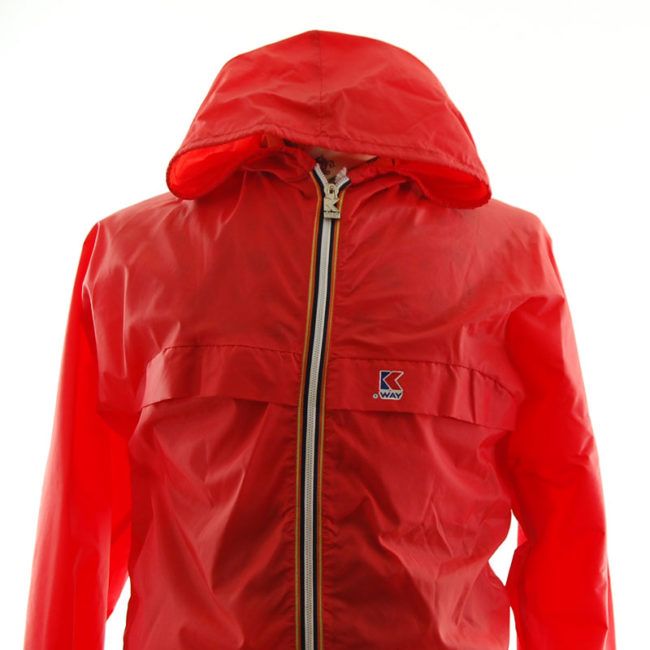 close up of K-Way Red Windbreaker Jacket