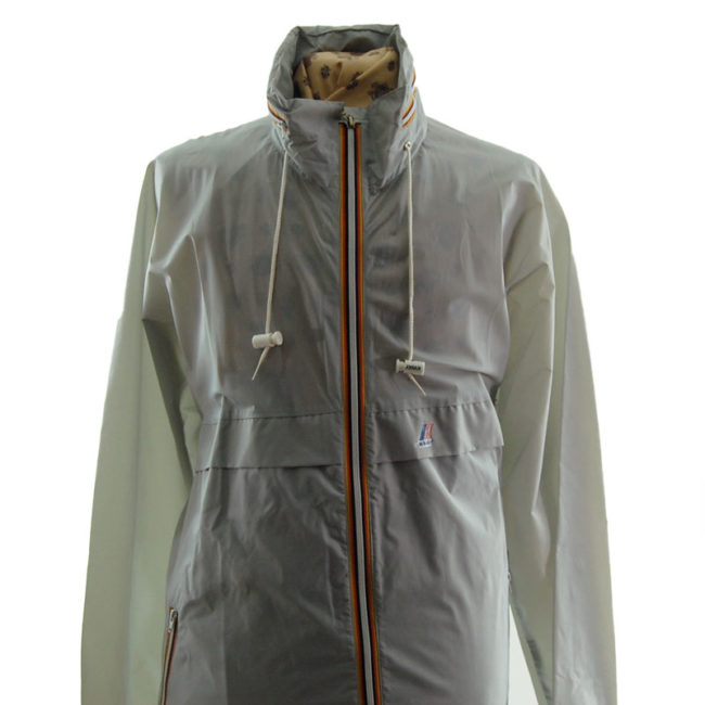 close up of K-way Grey Windbreaker Jacket