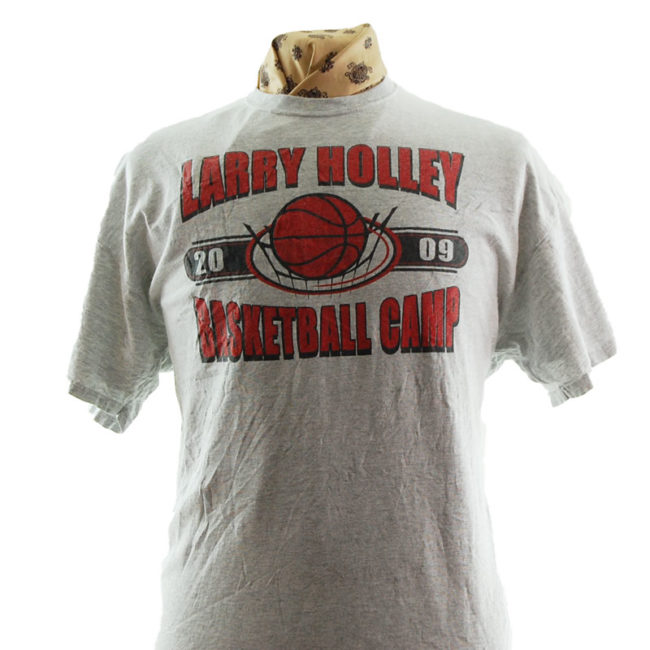close up of Larry Holley Basketball Camp T Shirt