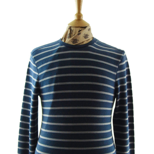 close up of Mens Navy And Grey Striped Tee Shirt