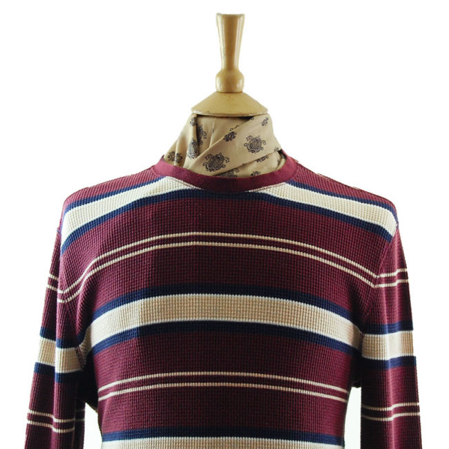close up of Mens Oversized Raw Hem Striped Tee Shirt