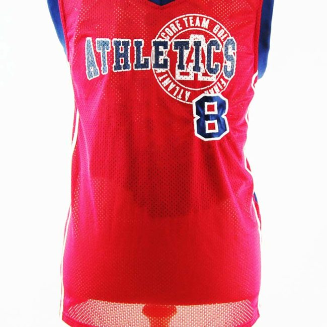 close up of Mens Red Basketball Vest Top