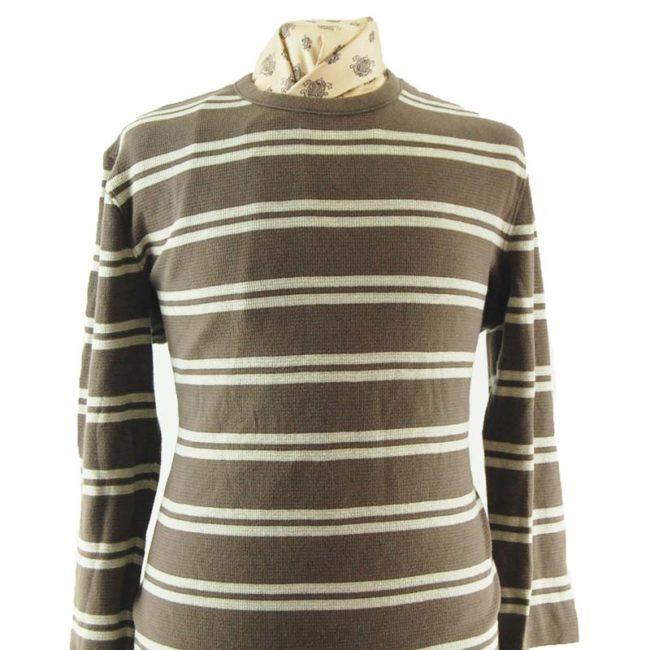 close up of Mens Striped Long Sleeve Tee Shirt
