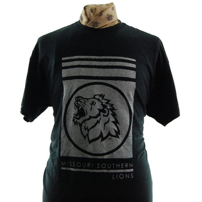 close up of Missouri Southern Lions T Shirt