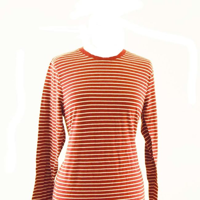 close up of Orange French Striped Long Sleeve Tee Shirt