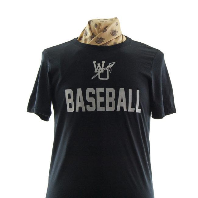 close up of Plain Black Baseball T Shirt