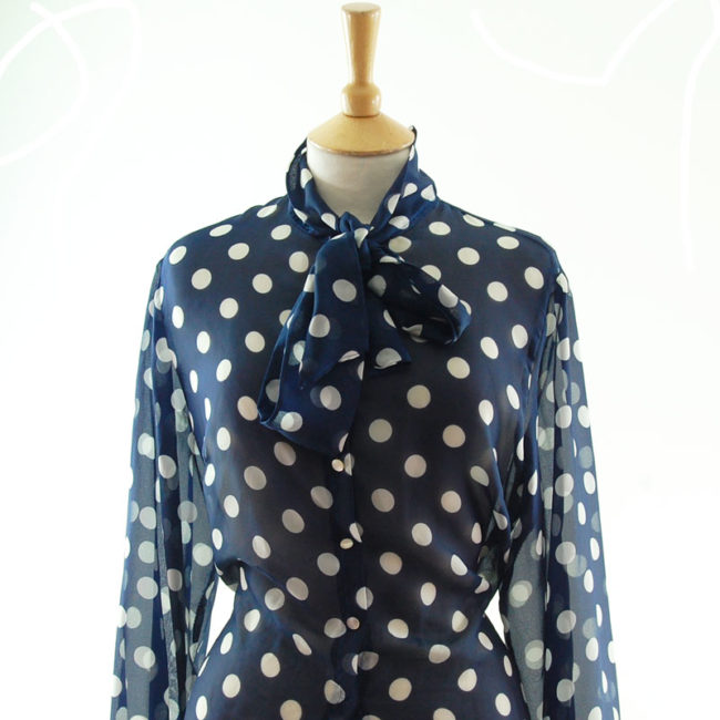 close up front of side of Polka Dot Pussy Bow Blouse