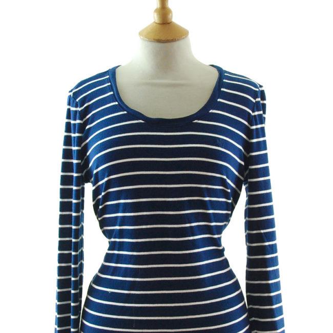 close up of Ralph Lauren Navy Blue Striped Tee Shirt