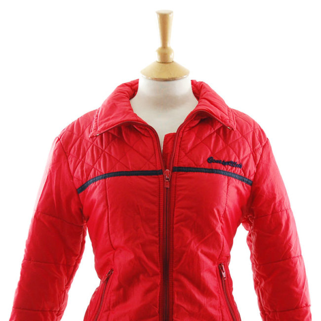 close up of Vibrant Red Skiing Jacket
