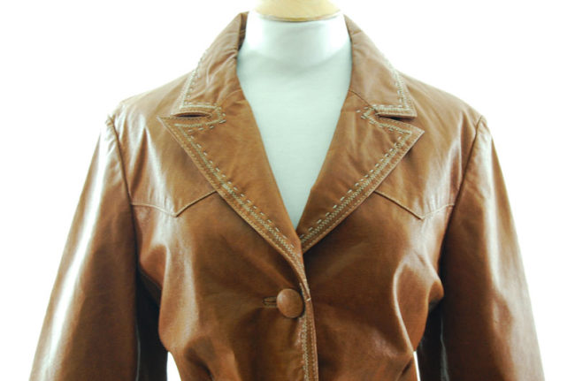 close up of Vintage Tan Leather Womens Jacket