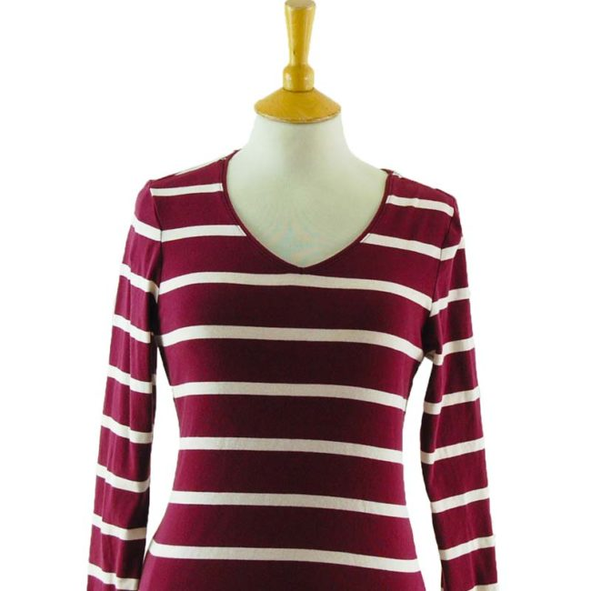 close up of Womens Striped Long Sleeve Tee Shirt