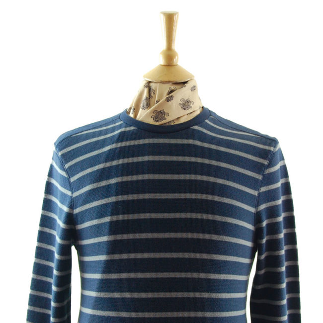 closer up of Mens Navy And Grey Striped Tee Shirt