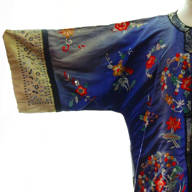 damage on Blue Silk Mandarin Robe