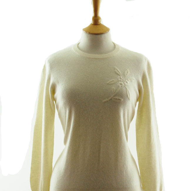 front of 50s Pure Wool White Sweater