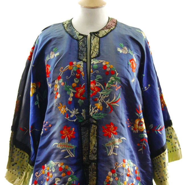 front of Blue Silk Mandarin Robe