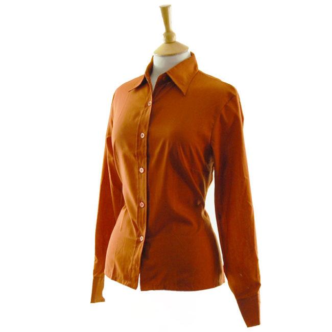 side of 70s Burnt Orange Vintage Blouse