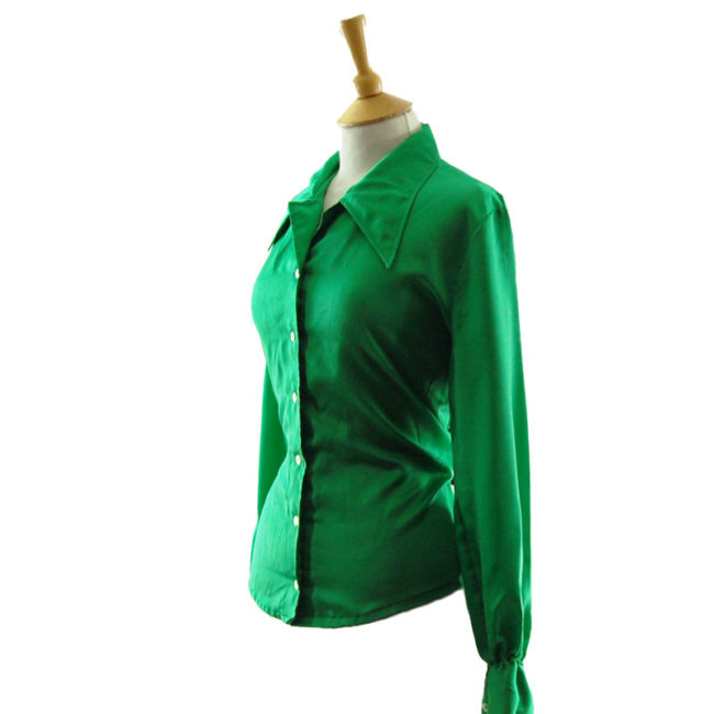 side of 70s Emerald Green Satin Blouse