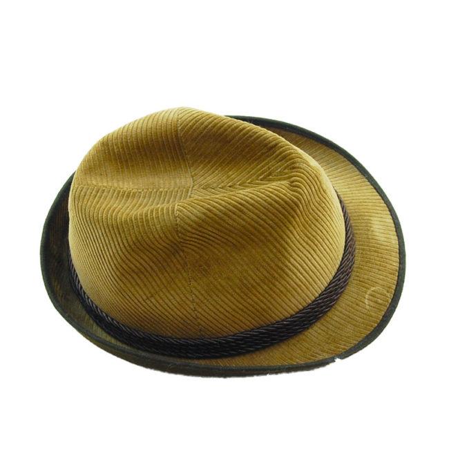 top of Mens Velvet Cord Austrian Style Hat