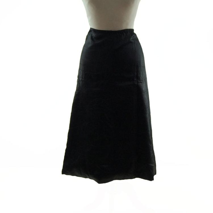 1940s Vintage Black Padded Silk Skirt