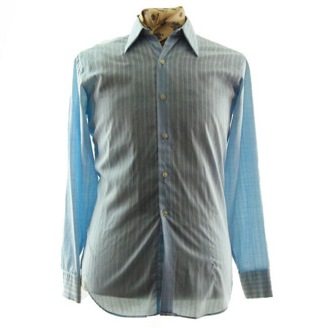 70s Mens Blue Striped Shirt