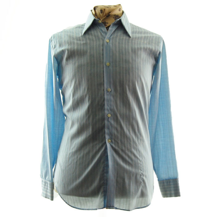 70s Mens Blue Striped Shirt
