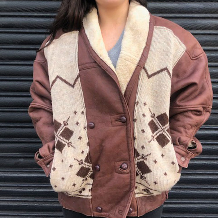 70s Vintage Oversized Brown Leather Jacket