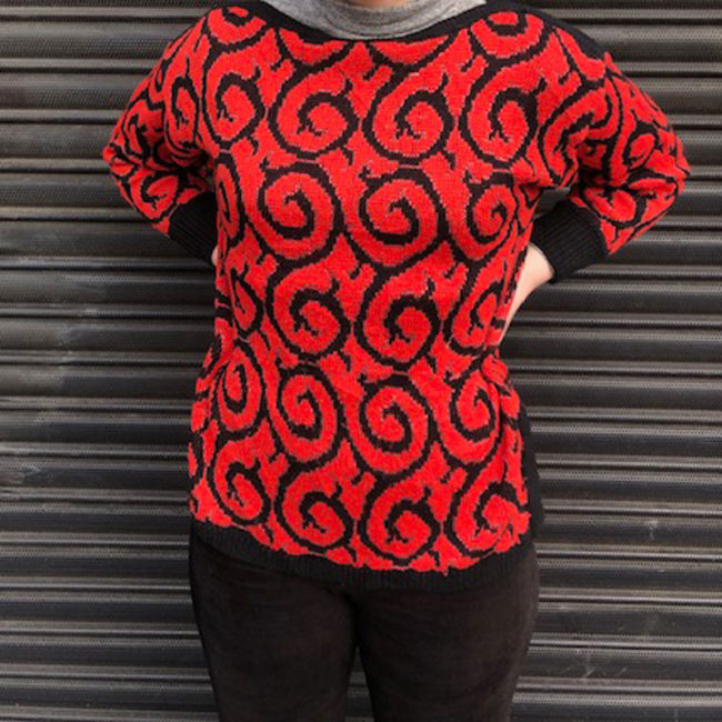 80s Red Glitter And Black Jumper