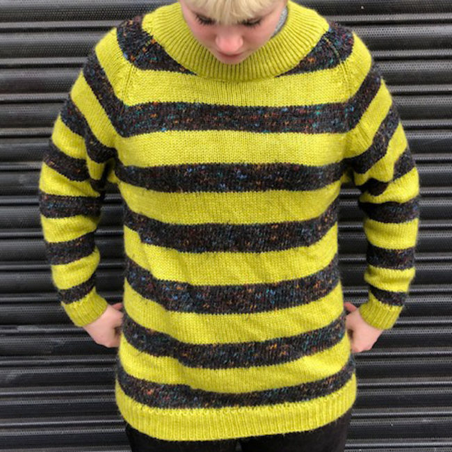 80s Vintage Green And Grey Striped Jumper