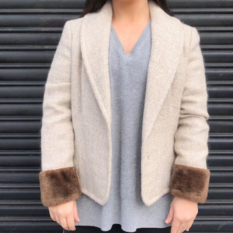90s Cream Woven Wool Blazer