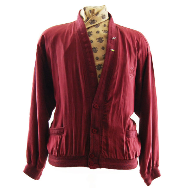 Yorn Burgundy Silk Bomber Jacket