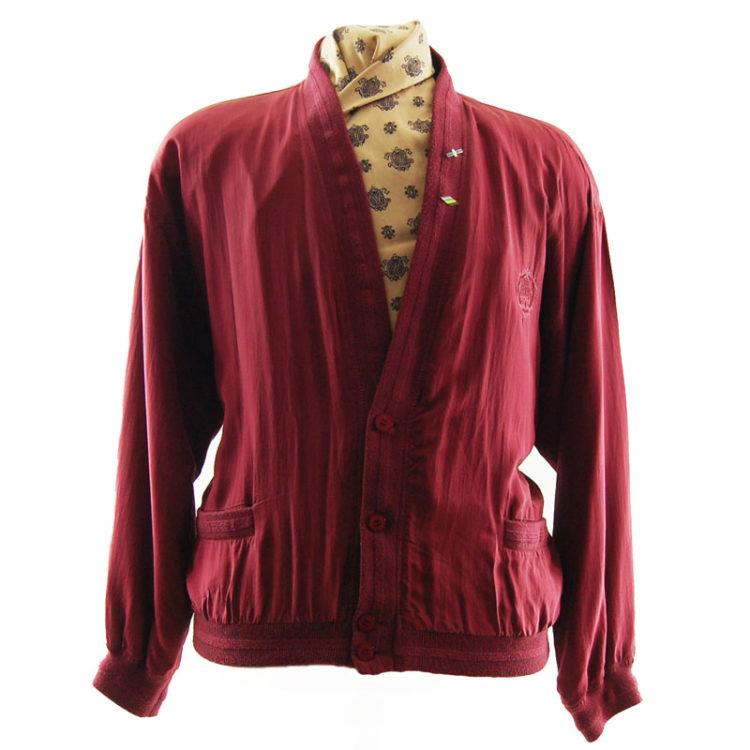 Yorn Burgundy Silk Bomber Jacket