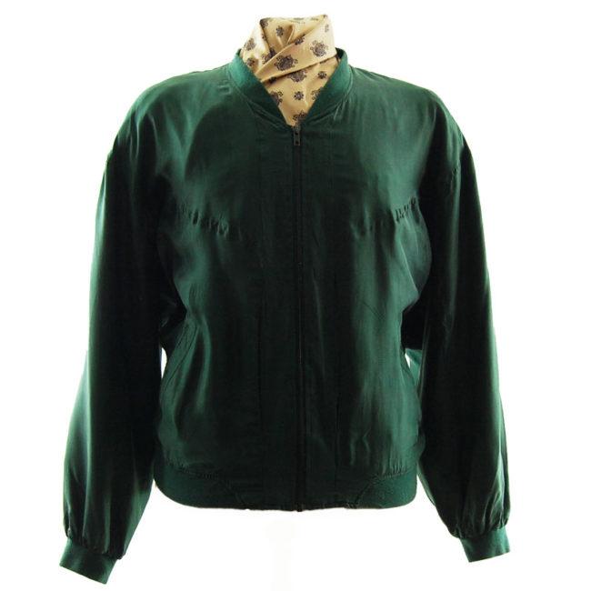 Forest Green Silk Bomber Jacket