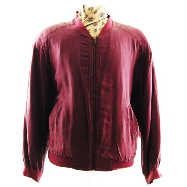 Mens Burgundy Silk Bomber Jacket