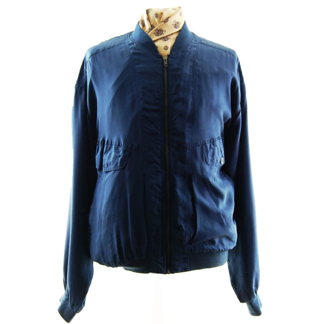 Navy Blue Silk Bomber Jacket